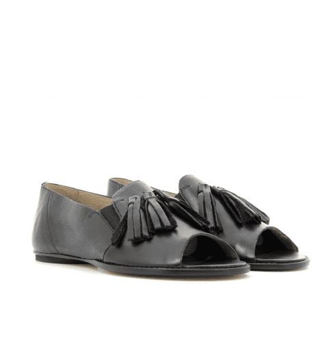 Sandales plate en cuir noir 1236N - GARRICE COLLECTION