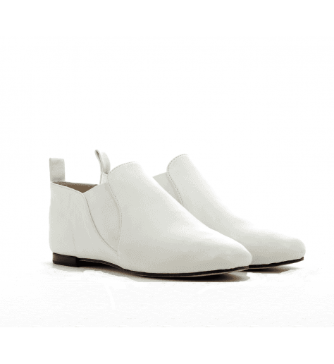 Bottines ballerines en cuir blanc ORIANA2- OPERA NATIONAL DE PARIS