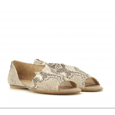 Sandales plates en cuir embossé python 1234S - Garrice Collection
