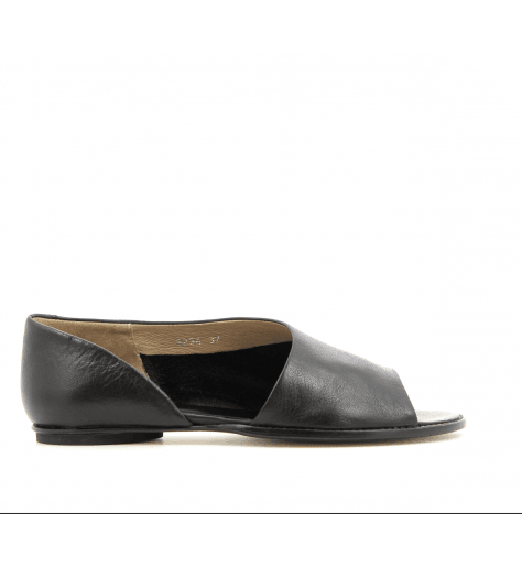 Sandales plates en cuir noir 1234N- Garrice Collection