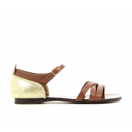 Sandales plates en cuir camel et doré SILVANO30CA - Chie Mihara