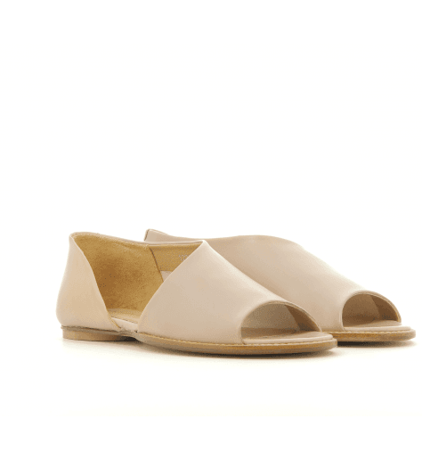 Sandales plates en cuir nude 1234NU - Garrice Collection