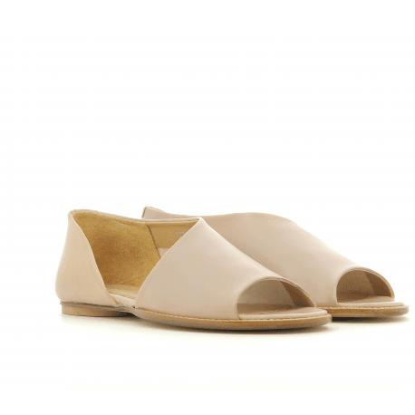 Sandales plates en cuir nude 1234NU - Garrice Collection