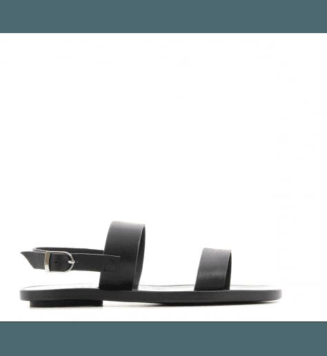 Sandales plates en cuir doré 2-STRAPS BLACK- Dimissianos&miller