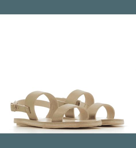 Sandales plates en cuir doré 2-STRAPS GOLD- Dimissianos&miller