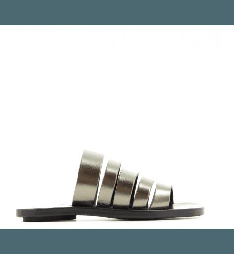 Sandales plate en cuir antracite 5-STRAPS- Dimissianos & Miller