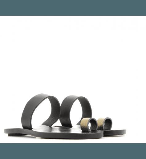 Sandales plates en cuir noir et doré TOE RING1- Dimissianos&miller