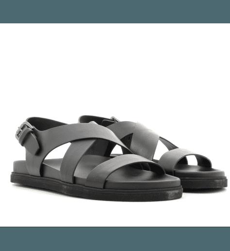 Sandales homme plates en cuir noir 41-579XS- BRADOR