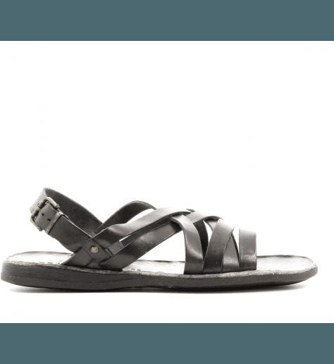 Sandales Homme plates en cuir marron  46-506 - Brador