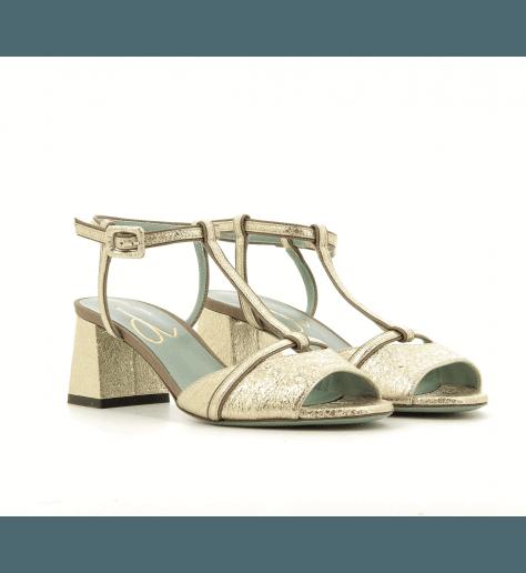 Sandales à talons en cuir doré D0213 - Paola D'Arcano