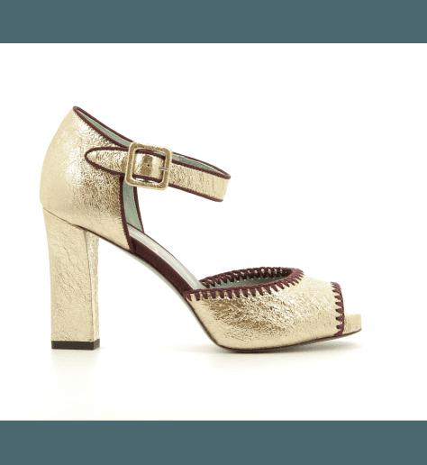Sandales à talons en cuir Doré D0717 - Paola D'Arcano