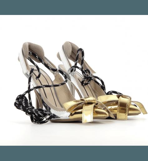 Escarpins à talons hauts or et argent 8311 - N°21 Numero Ventuno