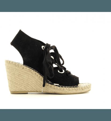 Sandale compensée en veau velours noirs PATTY- Ash