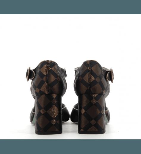 Salomés à talons en toile bronze et noir D87D4- Paola D'Arcano