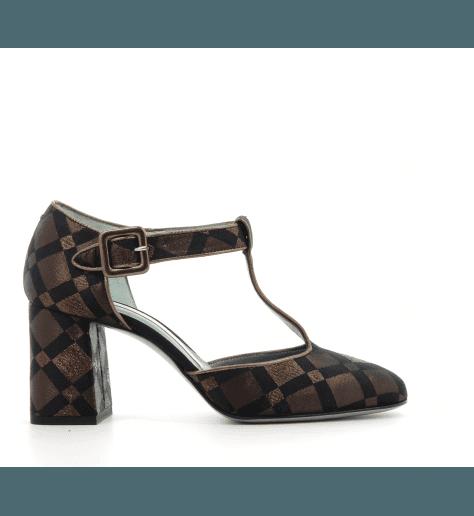 Salomés à talons en toile bronze et noir D87D4 - Paola D'Arcano