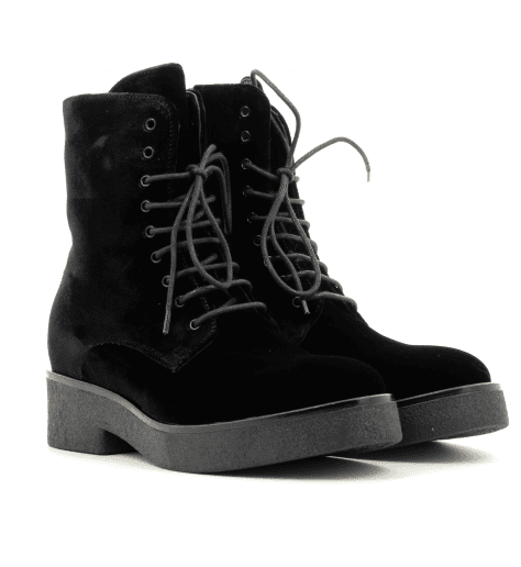 Bottines noires en velours 3948T - Garrice Collection