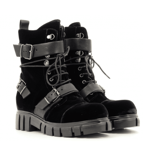 Bottines en velours marine 4197T Fru.it now  - Garrice Collection