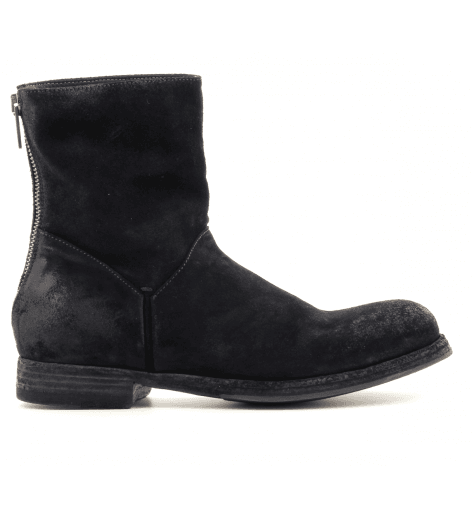 Boots noires en veau velour à talons plats - Pantanetti