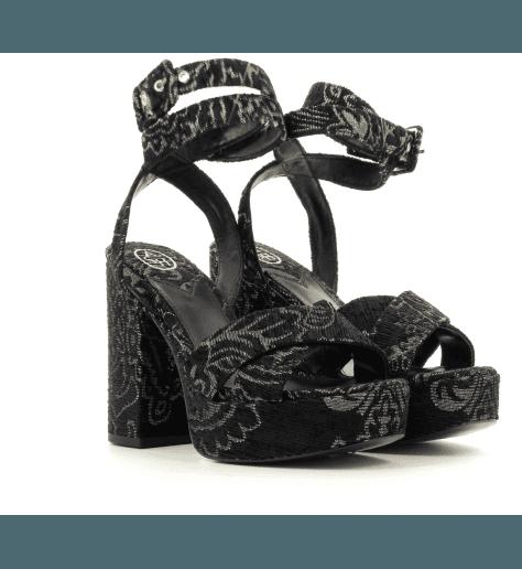 Sandales noires à plateforme BOOM - Ash