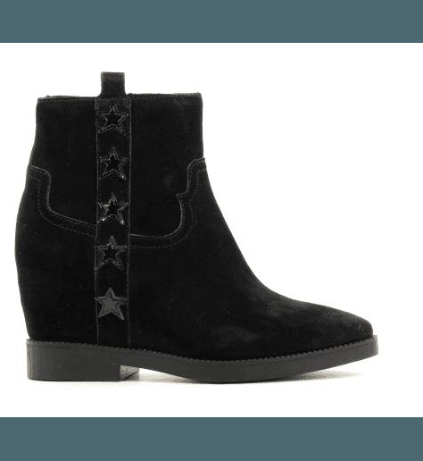 Boots noires en veau velour à talons compenses 8 cm GOLDIE1 - Ash