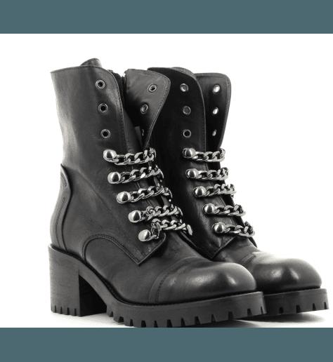 Bottines noires en cuir à talons moyens 4319 - Garrice collection