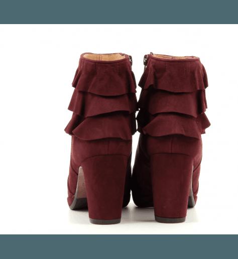 Bottines bordeaux en veau velours à talons moyens PRAXA - Chie Mihara