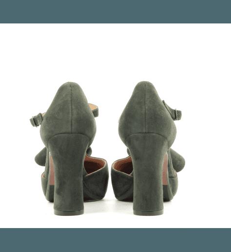 Escarpins en veau velours à talons hauts 9 cm vert DUBI31 - Chie Mihara