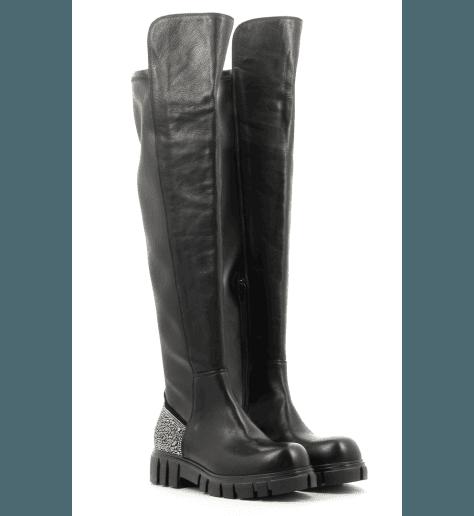 Genouillères noires en cuir 4191 - Garrice Collection