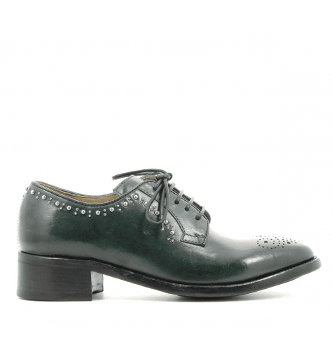 Derbies à clous en cuir vert LYDIE/011VE - Officine Créative