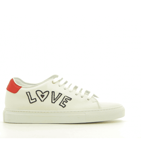 Sneakers en cuir blanc brodé BASSO LOVE - PAUL SMITH WOMEN