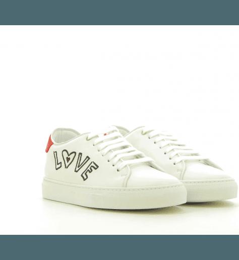 Sneakers en cuir blanc brodé BASSO LOVE - PAUL SMITH WOMEN