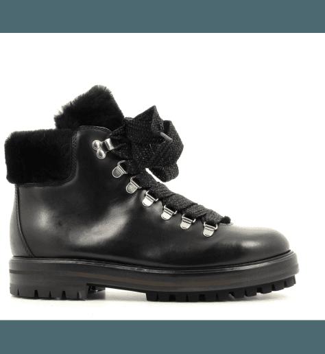 Bottines à lacet en cuir noir D517536N - AGL