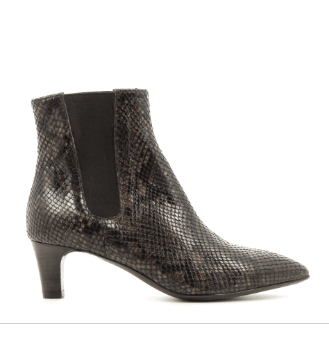 Bottines à talons en cuir marron D13512M - AGL