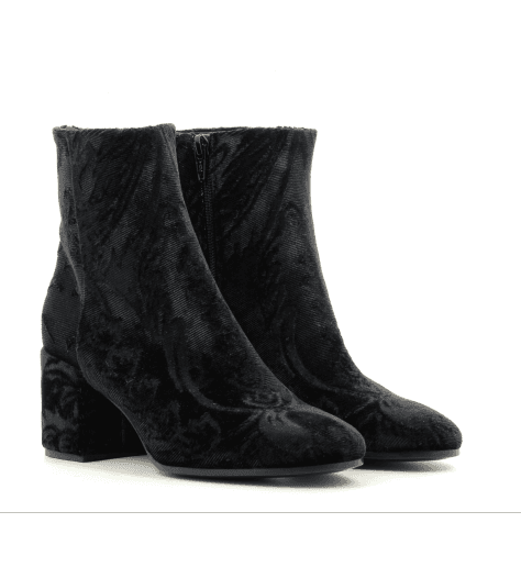 Bottines en velours noir brodé noir A3290N - Garrice Collection