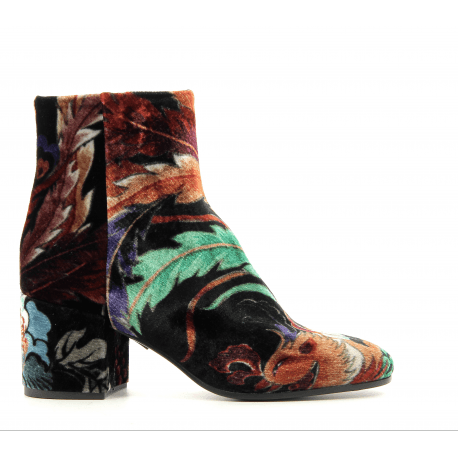 Bottines en velours patchwork A3290OR - Garrice Collection
