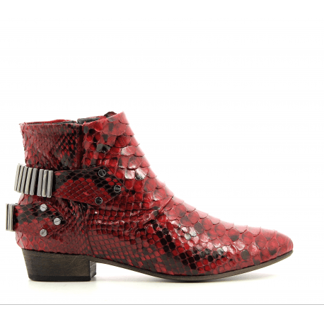 Bottines / boots plates en python rouge LO RED - Fury London