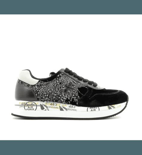 Sneakers plates en cuir  et plume noir HOLLY2565- Premiata