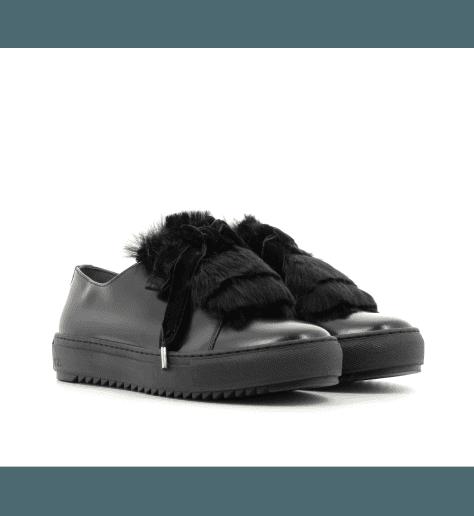 Sneakers en cuir noir D930006N- AGL