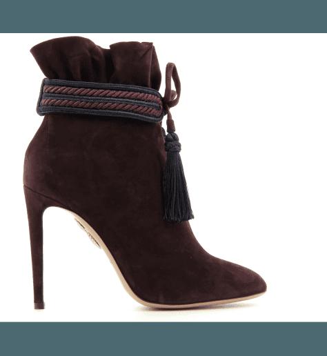 Bottines / boots à talons en veau velours - Aquazzura SHANTY BOOTIE 105