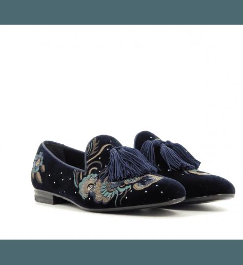Mocassins en velours bleu D024bl - Henderson