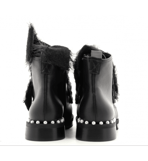 Bottines plates en cuir noir 312N - GreyMer