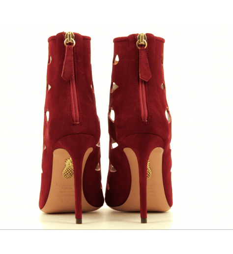 Bottines à talons rouge avec découpes BOOM BOOTIE 105 RED - AQUAZZURA