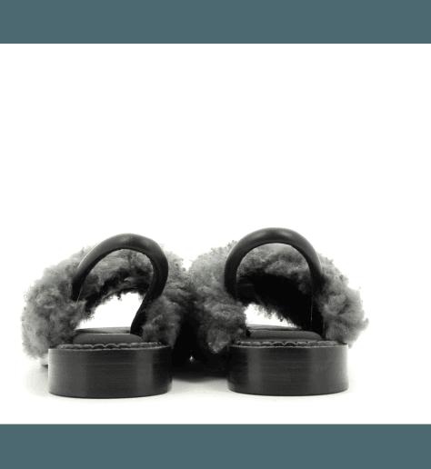Sandales en cuir et fourrure grise BLOSSTNF - Robert Clergerie