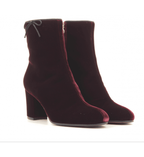 Bottines en velours bordeaux LDF030BORD - L'Autre Chose