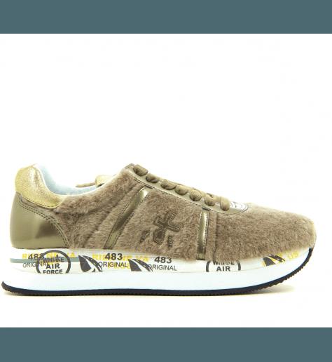Sneakers plates en cuir et fourrure  taupe et doré CONNY2612 - Premiata