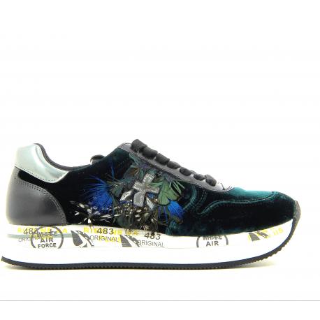 Sneakers vertes en velours et plumes HOLLY2564- Premiata
