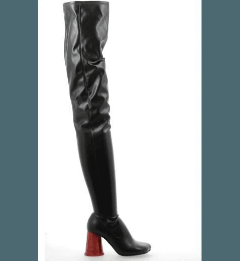 Cuissardes à talons gobelet rouge en cuir noir S40WW0038/963- MM6 Martin Margiela