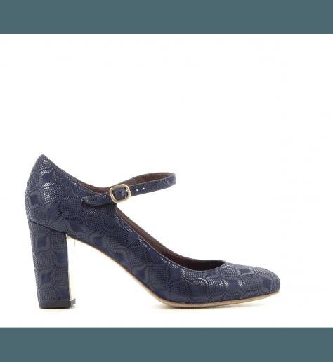 Escarpins/babies en cuir bleu Gosy - Avril Gau