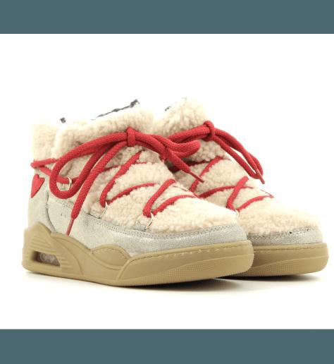 Boots fourrées blanc et camel MOON CUT LOW - Serafini