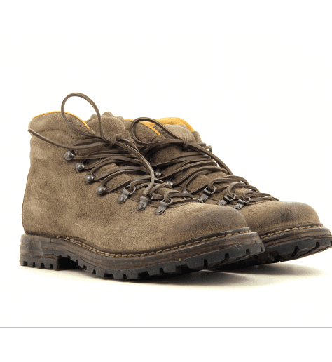 Bottines  plates en veau velours taupe KONTRA/003 - Officine Creative